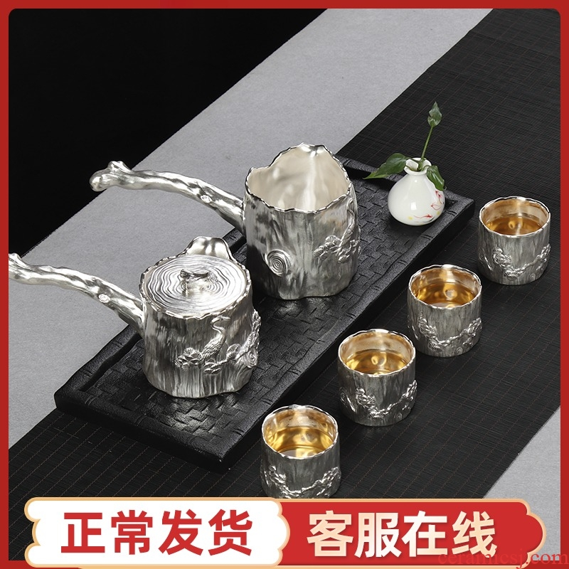 High - grade silver tea set 999 sterling silver coppering. As pure manual contracted household ceramics Chinese kung fu tea set of the complete set of suits for a