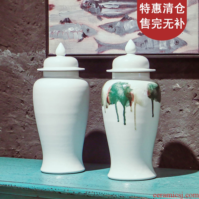 Jingdezhen light in megalomania as cans ceramic glaze general European model room hotel furnishing articles of handicraft decorative accessories