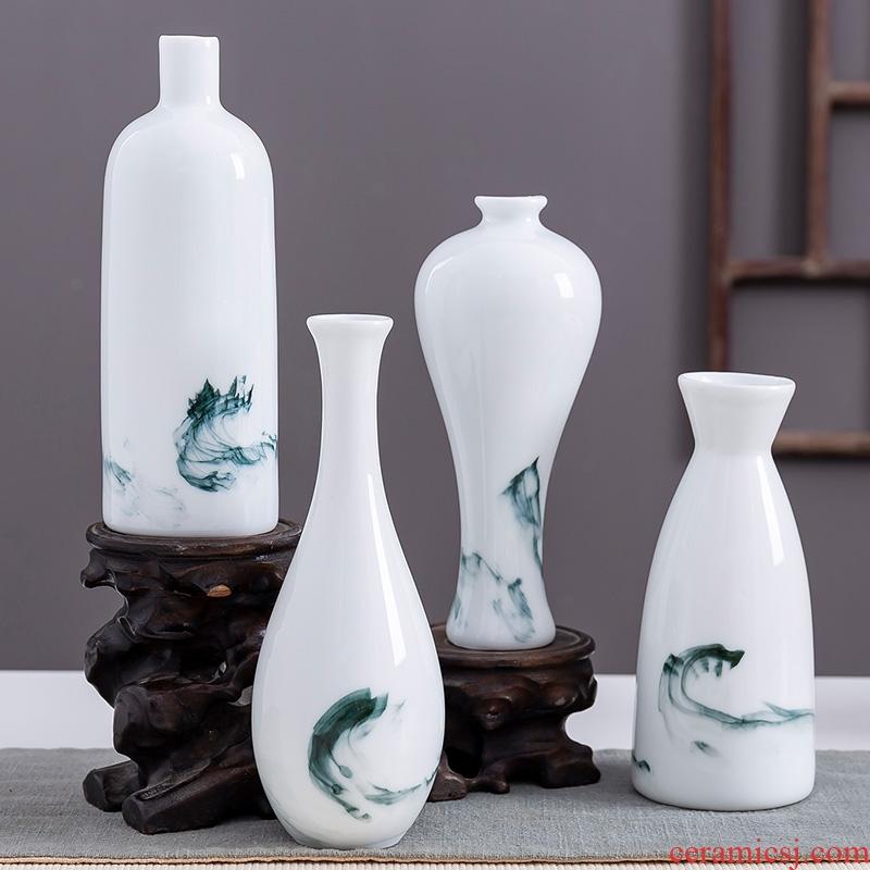Jingdezhen ink antique hand - made ceramic vase porch tea table desktop furnishing articles ornament porcelain flower arranging flowers