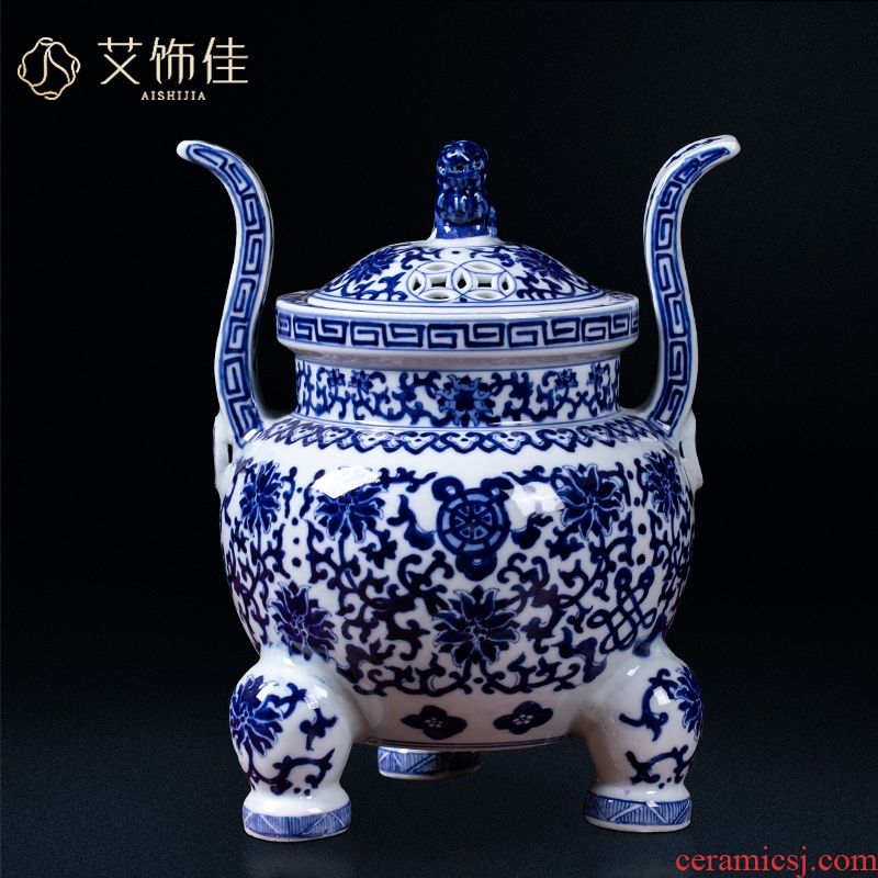 Imitation of qianlong blue and white porcelain of jingdezhen ceramics incense buner of Chinese style living room a study ancient frame home furnishing articles