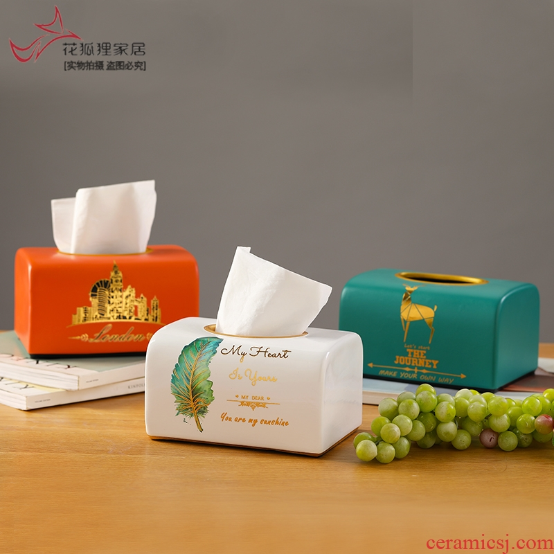 Light much creative ceramic household of I and contracted paper tissue box sitting room tea table smoke box table hotel paper box