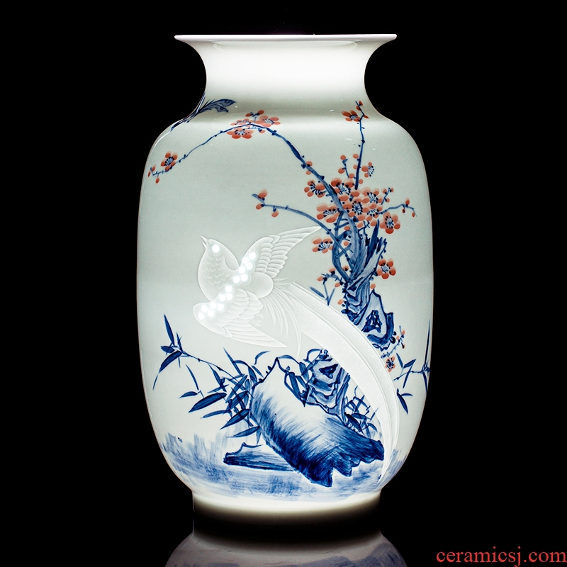 Jingdezhen ceramics hand - made vases, flower arranging is a brace bonanza archaize process decoration of Chinese style household furnishing articles