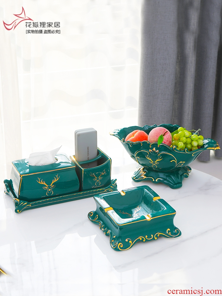 Light European - style key-2 luxury compote three - piece ceramic fruit bowl tissue boxes suit sitting room tea table household decorative furnishing articles