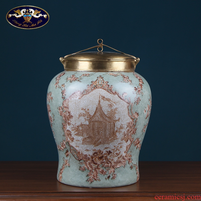 Europe type restoring ancient ways ceramic storage tank with cover pure copper of new Chinese style household act the role ofing is tasted the sitting room porch the general pot of furnishing articles