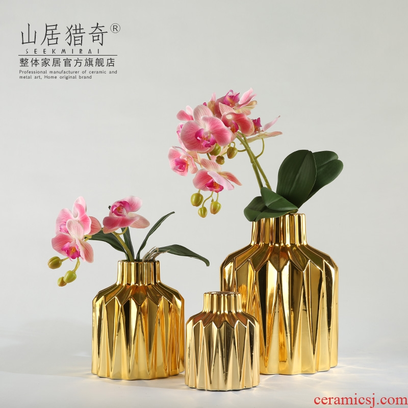 Modern electroplating gold ceramic flower arranging flower implement geometric origami vase sitting room TV ark, home decoration furnishing articles