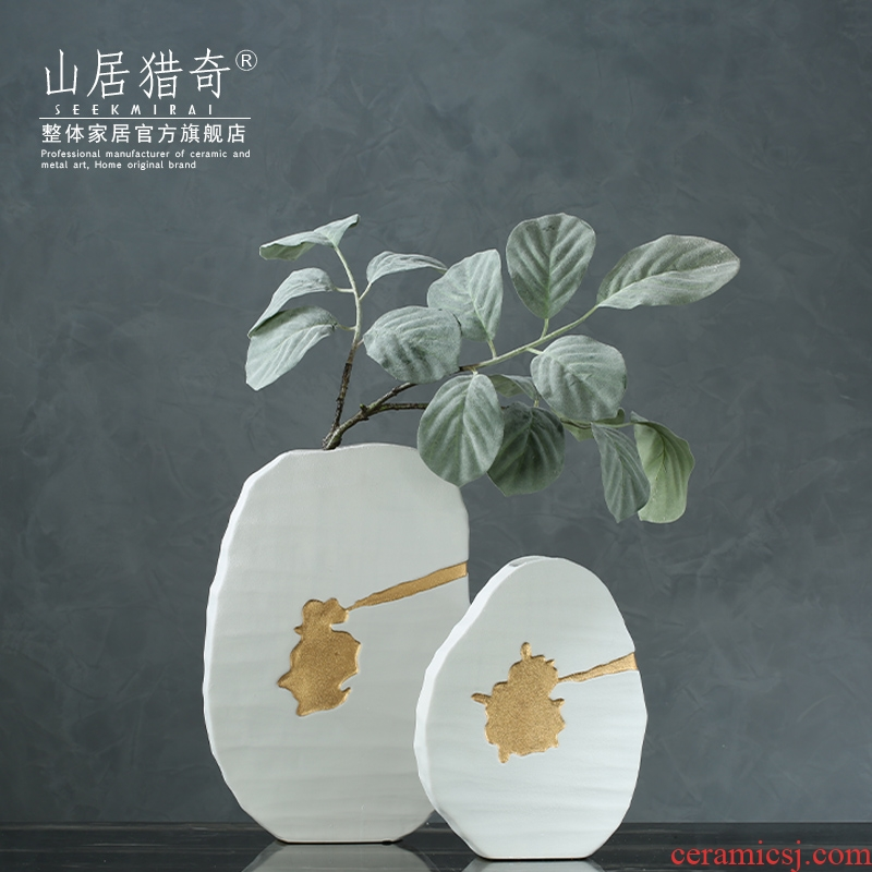New Chinese style frosted white ceramic vase dried flower flower arranging flower implement Nordic sitting room home soft decoration