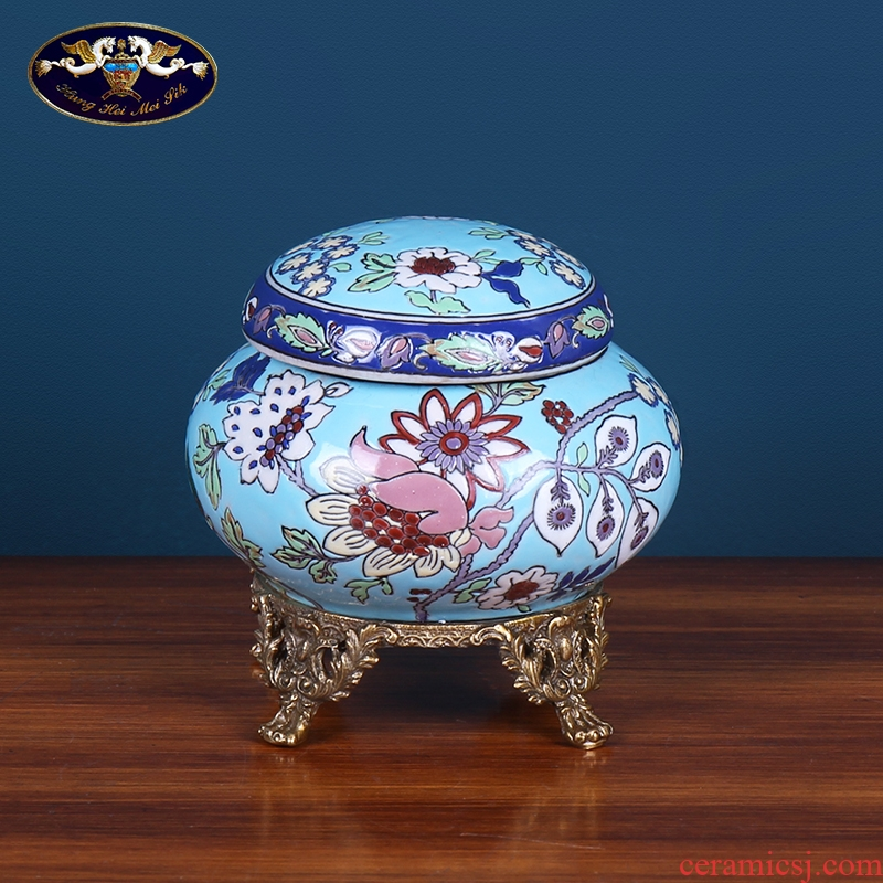 European household soft adornment ceramics storage tank is small place between American retro example wine cabinet decoration arts and crafts