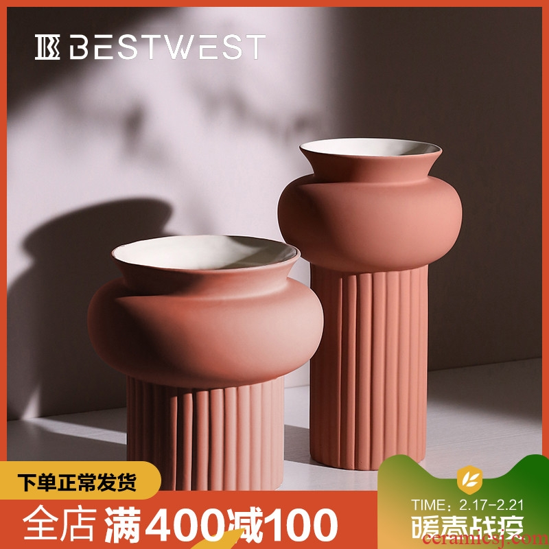 BEST WEST light ceramic vases, large key-2 luxury geometry model room soft adornment ornament furnishing articles designer
