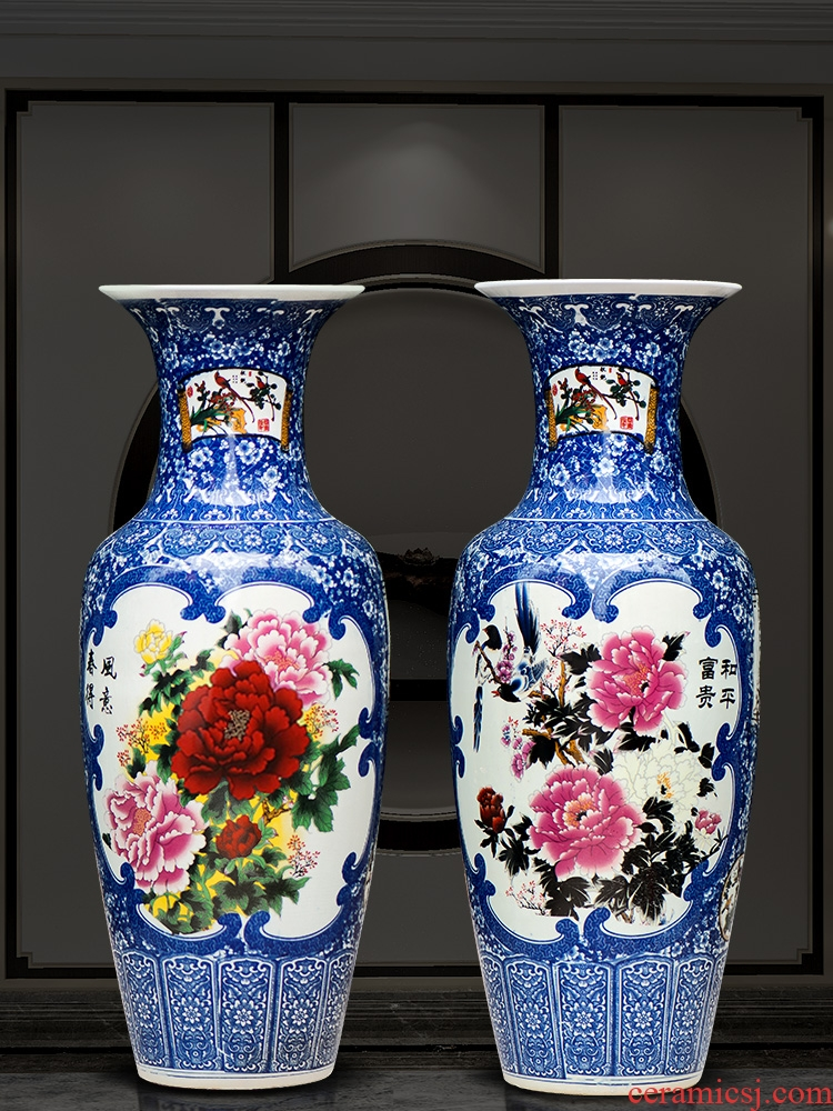 125 jingdezhen ceramics of large vases, archaize sitting room place of blue and white porcelain hotel decoration