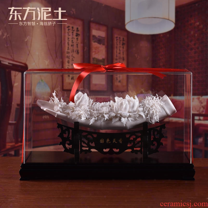 Oriental soil dehua white porcelain ceramic flower art upscale hotel club house furnishing articles gifts/today