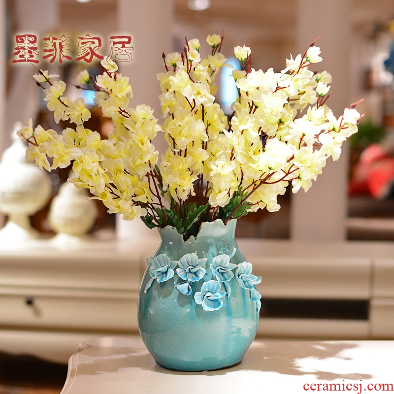 Hand hold ice crack ceramic vase Nordic creative contracted decorate the sitting room place simulation flowers, dried flowers, flower arrangement, decoration