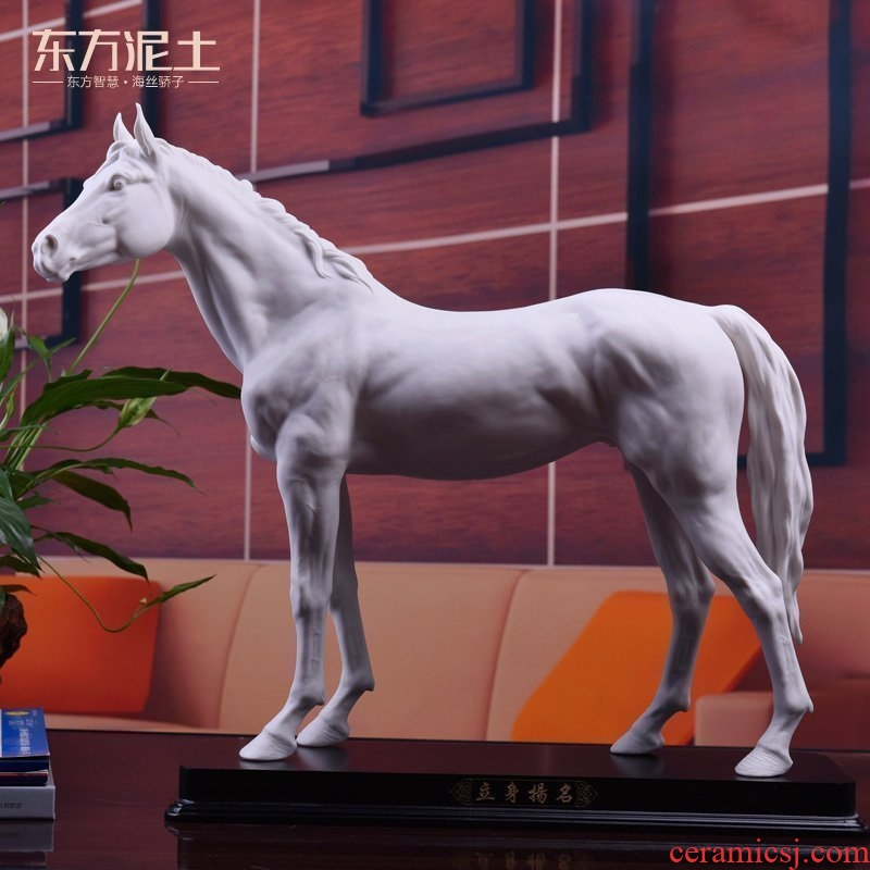 Oriental clay ceramic horse furnishing articles dehua white porcelain send friends standing leadership office business gifts/foundation
