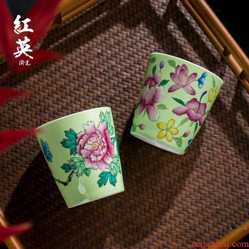 Red the jingdezhen ceramic manual hand - made pastel kung fu tea cup single master cup with personal single CPU