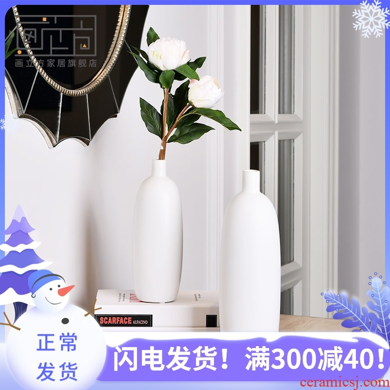 Furnishing articles cubic Nordic I and contracted ceramic vase household soft adornment flower arranging dried flowers, flower implement the living room