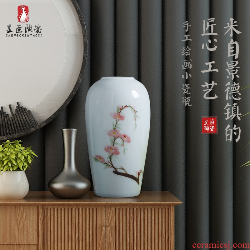 Jingdezhen manual painting ceramic vases, modern creative tea table desktop furnishing articles decorations suit flower vase