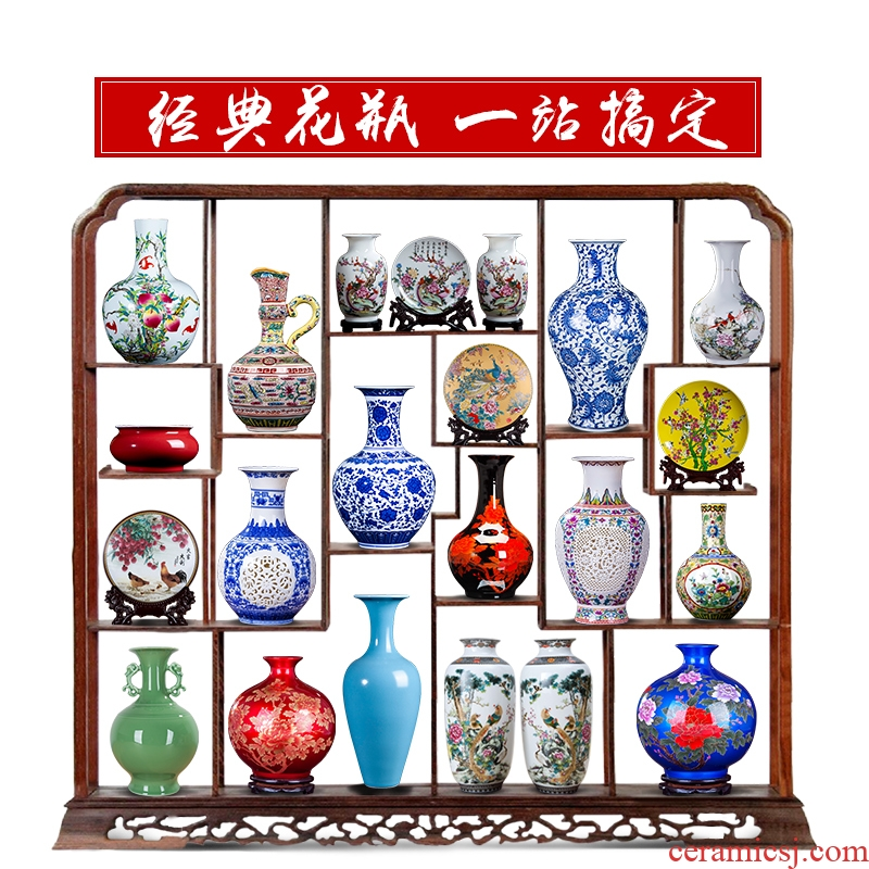 Jingdezhen ceramics vase furnishing articles dried flower arranging flowers sitting room of new Chinese rich ancient frame TV ark, lucky bamboo vase