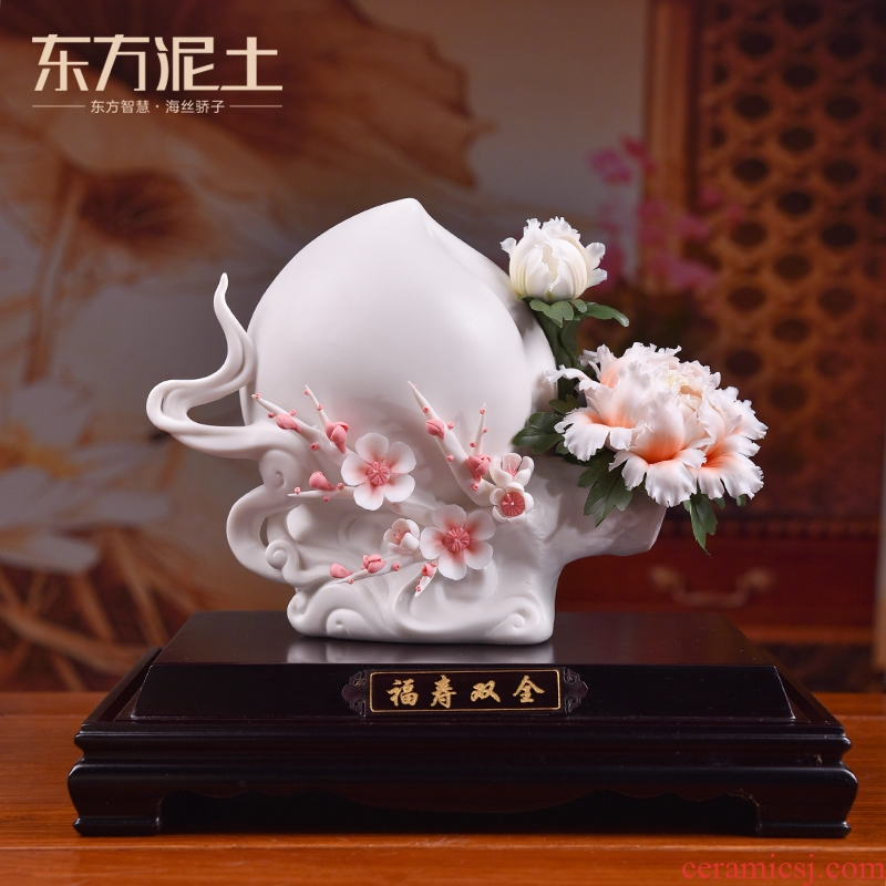 Oriental earth live long and proper ceramic peach furnishing articles its art to send elder birthday birthday gift items