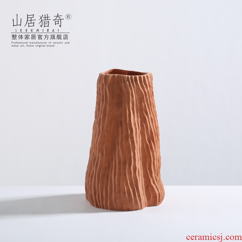 Ground vase furnishing articles sitting room large ceramic flower arranging dried flowers, Nordic household act the role ofing is tasted morandi orange flower vase