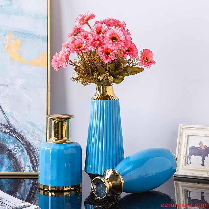 Jingdezhen ceramic creative furnishing articles furnishing articles sitting room flower arrangement Nordic European blue vase wedding China office