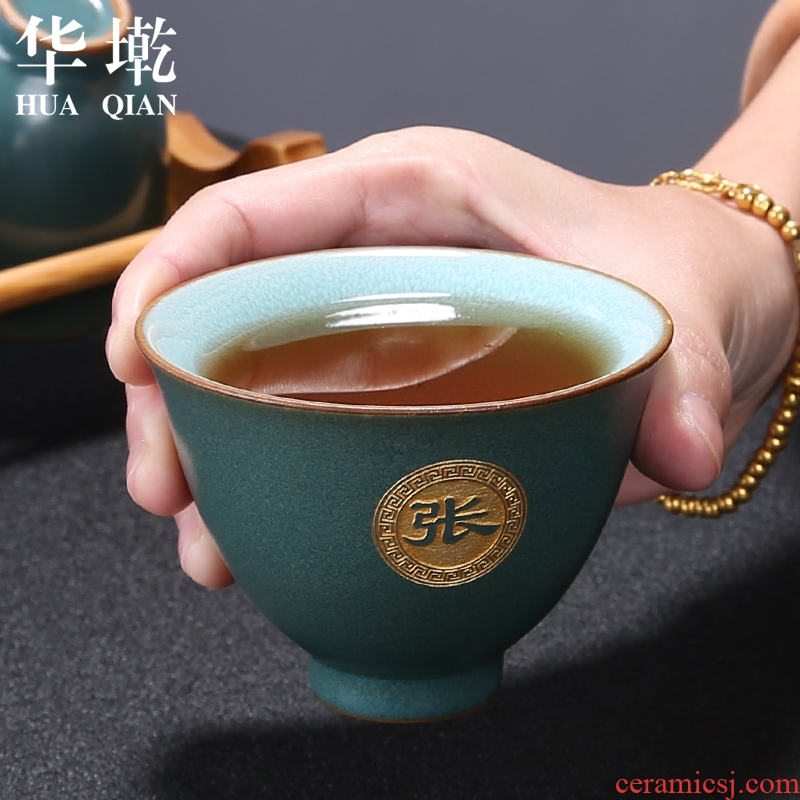 Ceramic kung fu tea cup single cup custom built sample tea cup masters cup light small bowl of kung fu tea set size