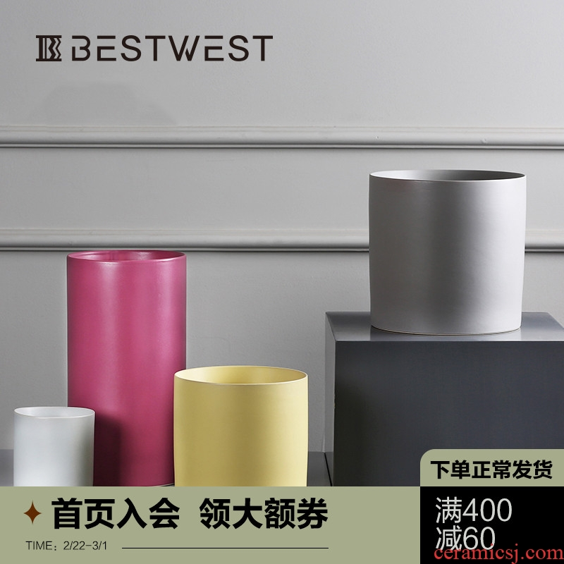 BEST WEST cylindrical color ceramic vase flower arranging dried flower vases, I and contracted home furnishing articles in the living room