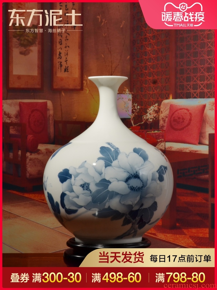 Oriental clay ceramic hand - made vases furnishing articles creative Chinese style living room TV cabinet/design decorations arts and crafts