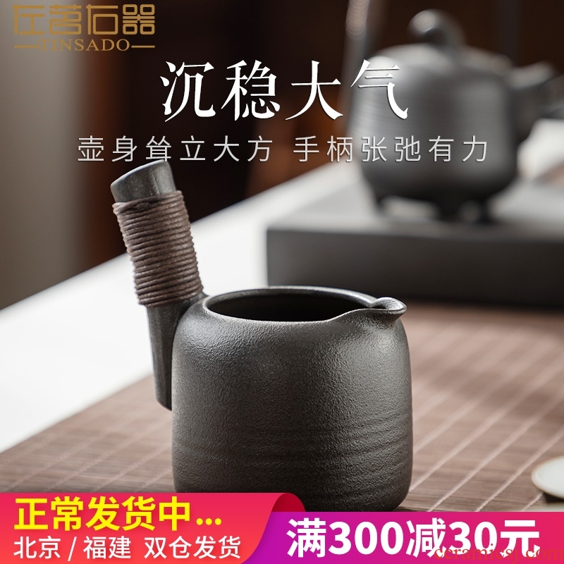 ZuoMing right is restoring ancient ways of black ceramic fair keller kung fu tea accessories coarse pottery cup and a cup of Japanese tea ware points
