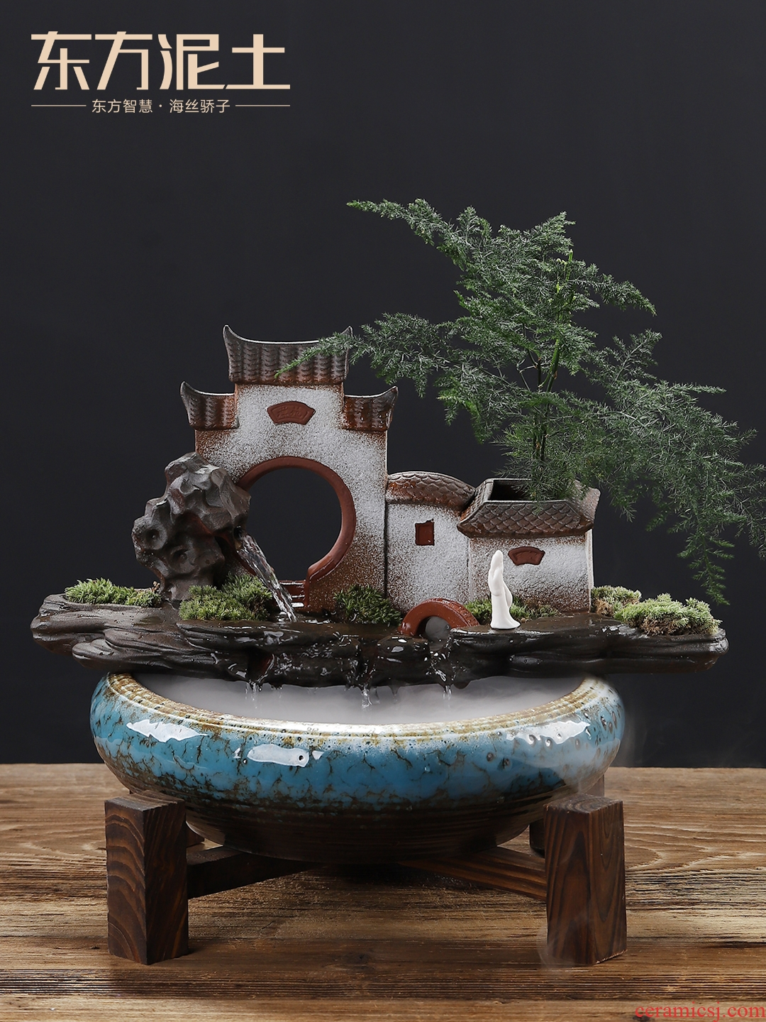 Oriental clay ceramic feng shui plutus furnishing articles household indoor TV ark, sitting room aquarium water humidification ornaments