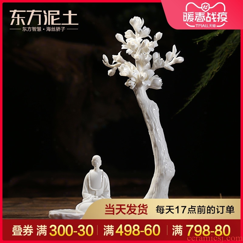 Oriental soil dehua white porcelain art creative zen ceramic arts and crafts decorations furnishing articles/a flower a world