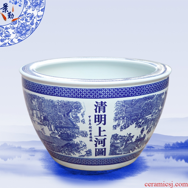 Jingdezhen ceramics aquarium blue and white porcelain lotus lotus cylinder clear painting home furnishing articles