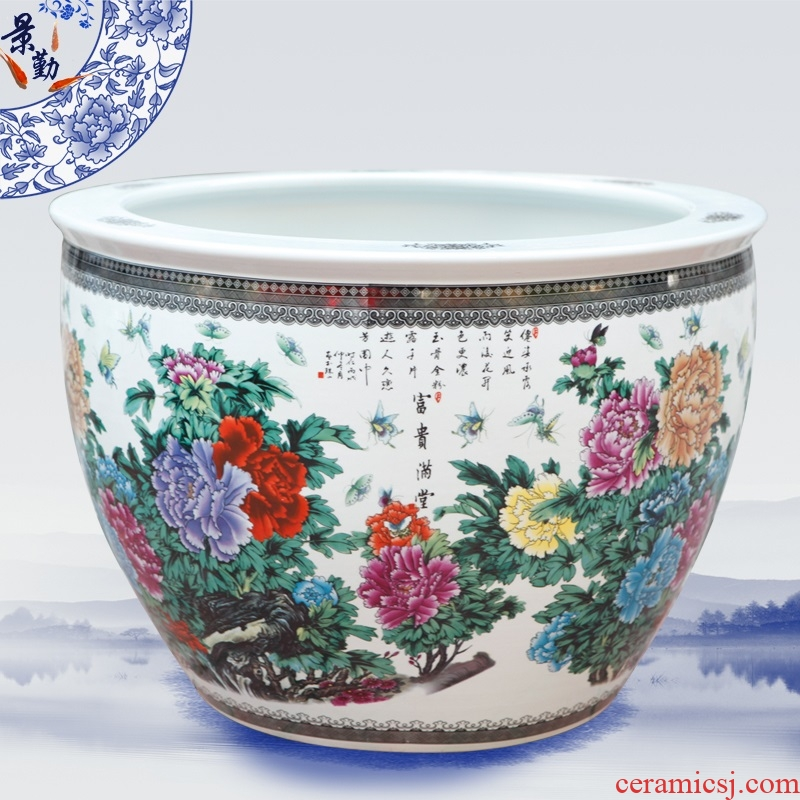 Jingdezhen ceramic aquarium fish tank water lily bowl lotus cylinder aquarium with a silver spoon in its ehrs expressions using the and home furnishing articles