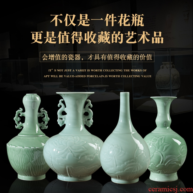 Jingdezhen ceramic vases, hand - carved lotus shadow blue glaze vase imitation antique ceramic porch rich ancient frame furnishing articles
