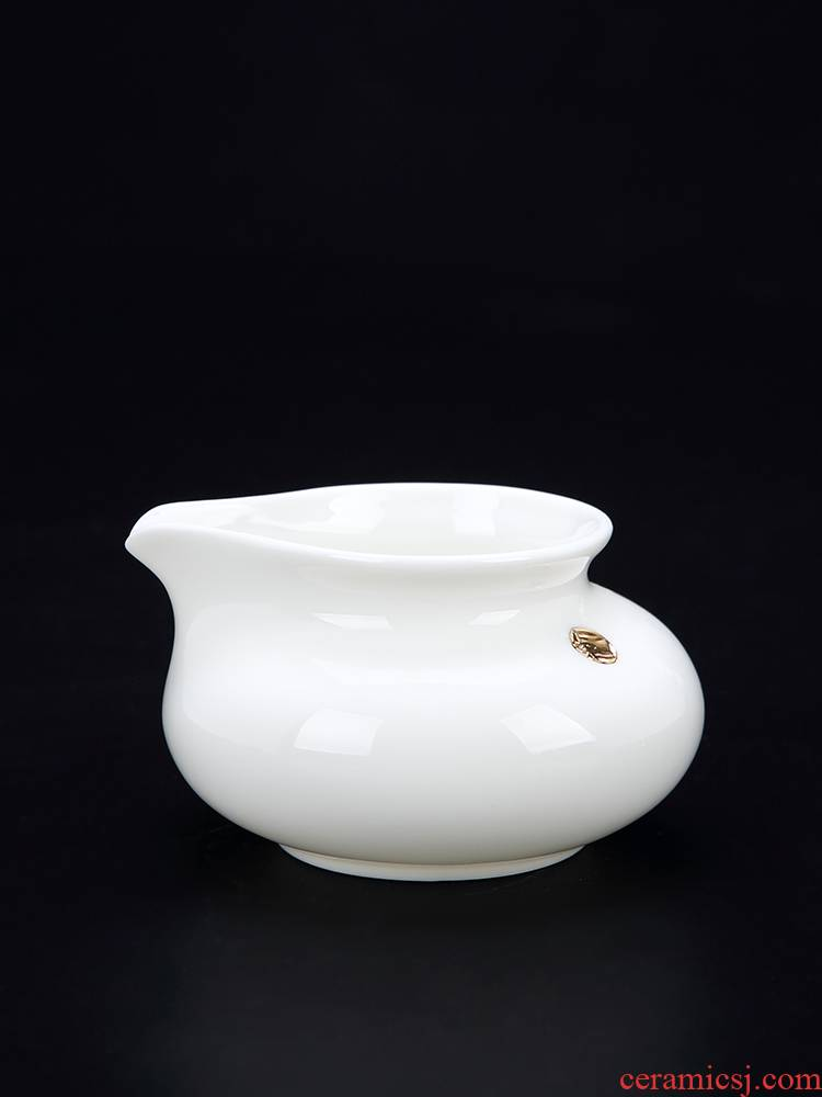 Red the jingdezhen ceramic fair kung fu tea set suet jade white porcelain cup contracted tea sea device and a cup of tea