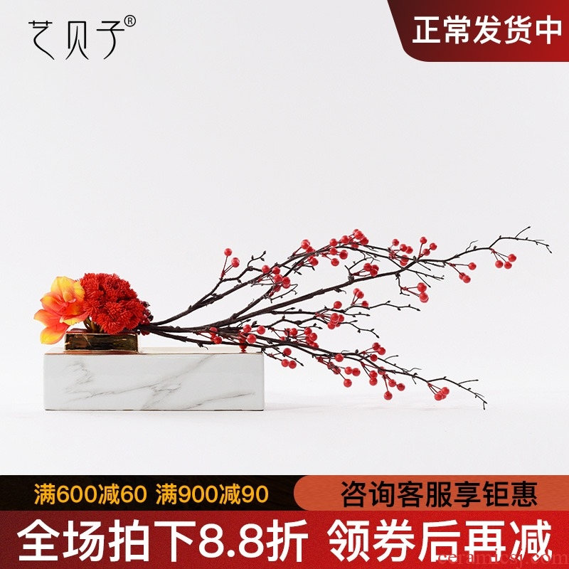 New Chinese style TV ark, the soft adornment creative ceramic flower implement furnishing articles sitting room floor rich ancient frame floral arrangements