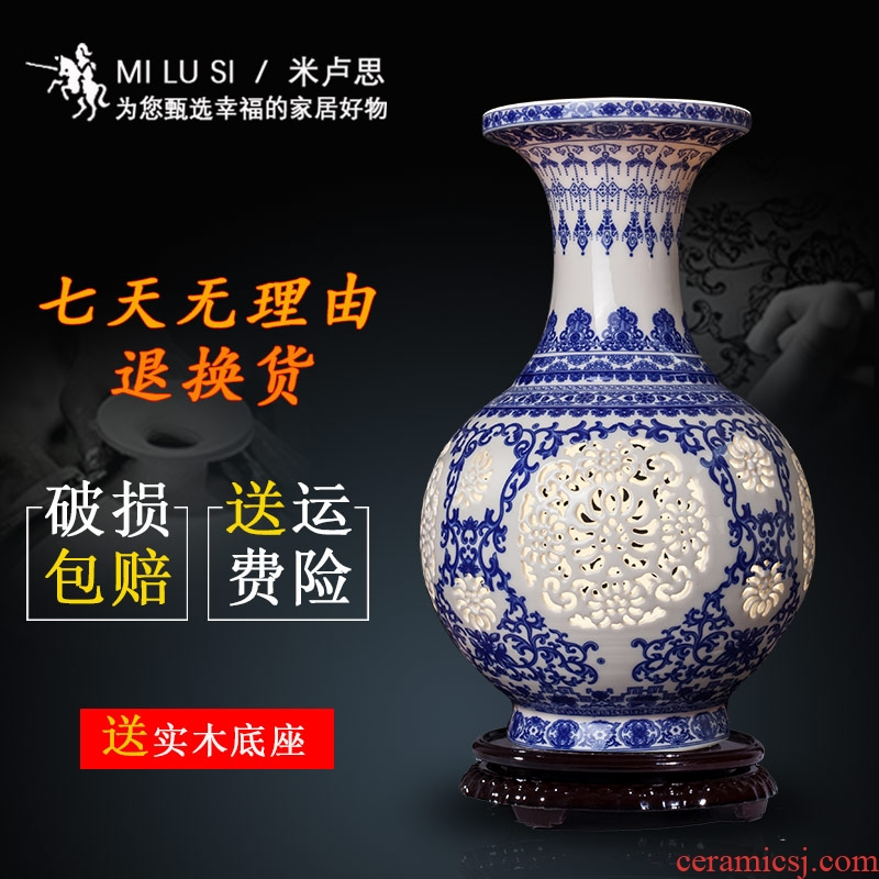 Jingdezhen ceramics hollow - blue and white porcelain vases, I and contracted sitting room of Chinese style household flower arrangement decorations furnishing articles