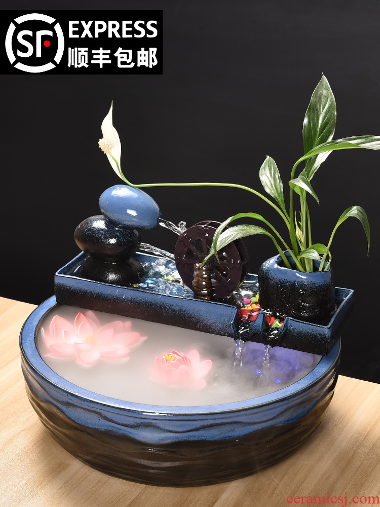 Ceramic fountain lucky fish tank and furnishing articles sitting room feng shui water wheel humidifier the opened a housewarming gift automatic cycle