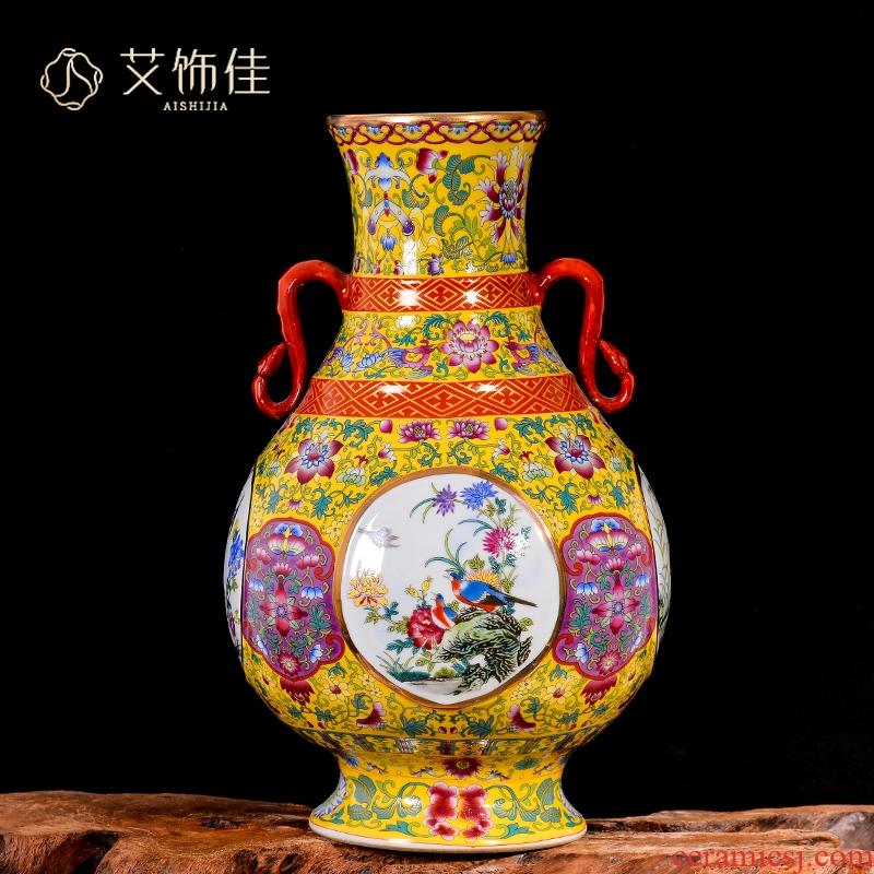 Jingdezhen ceramic antique ears enamel vase Chinese rich ancient frame TV ark, decoration crafts are sitting room