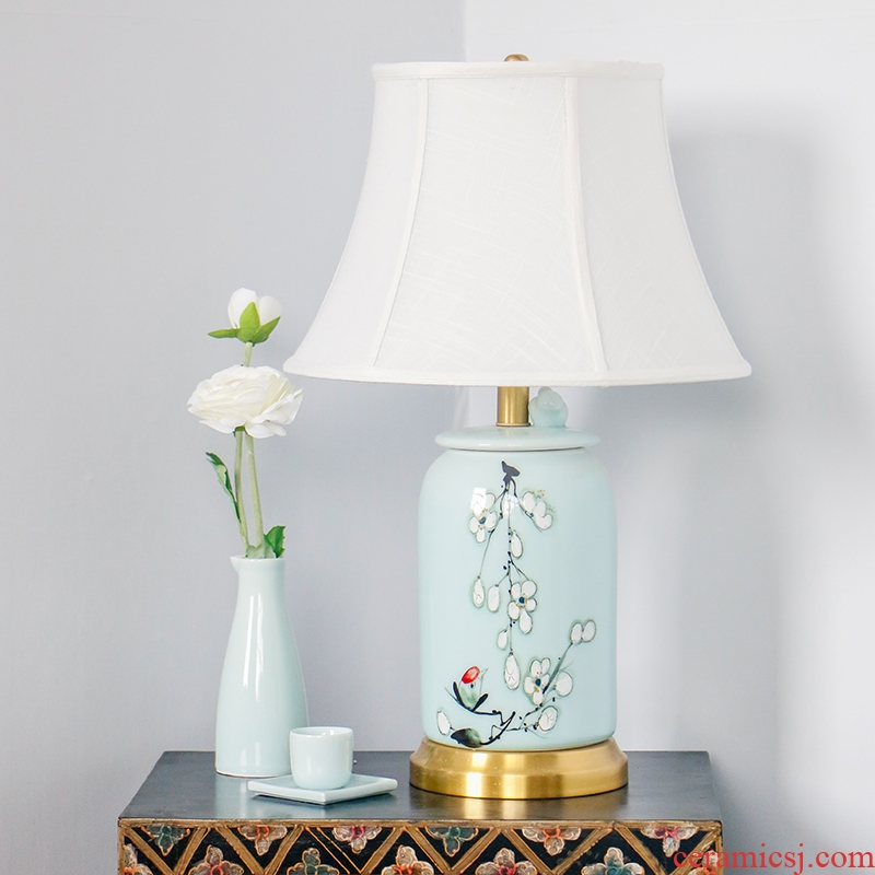 New Chinese style hand - made zen greengage bird ceramic desk lamp villa living room sofa Angle of several copper lamp of bedroom the head of a bed