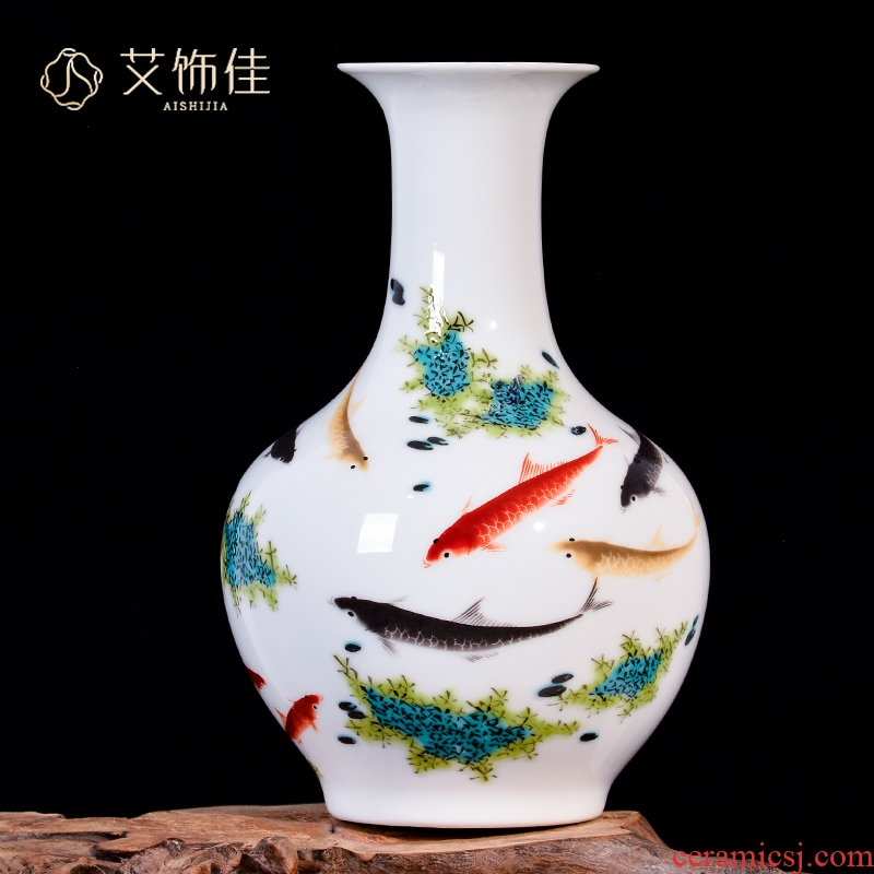 Jingdezhen ceramics powder enamel porcelain vases, flower arranging dried flower of new Chinese style household living room TV cabinet decorative furnishing articles