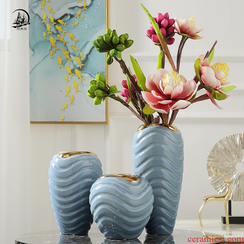 Nordic light ceramic vase furnishing articles dried flowers sitting room key-2 luxury wind simulation table, TV ark of modern household soft adornment