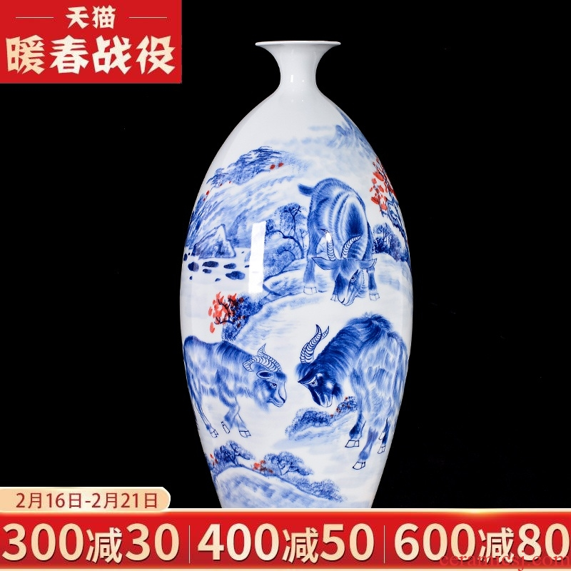 Jingdezhen blue and white ceramics hand - made three Yang kaitai household of Chinese style rich ancient frame, the sitting room TV cabinet decorative furnishing articles
