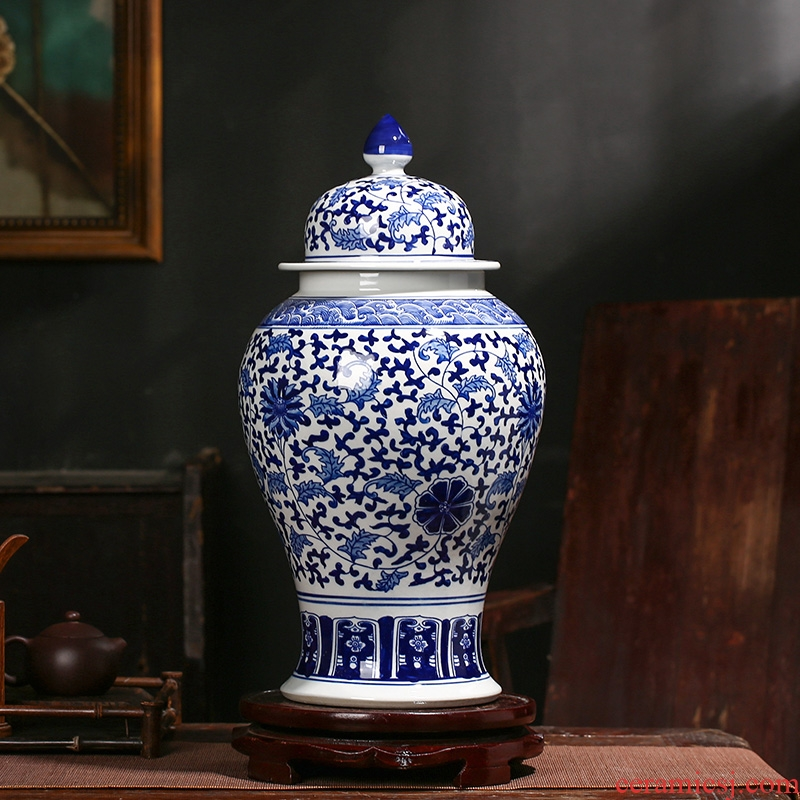 Jingdezhen ceramic general antique blue and white porcelain jar ceramic furnishing articles large storage tank Chinese style household ornaments