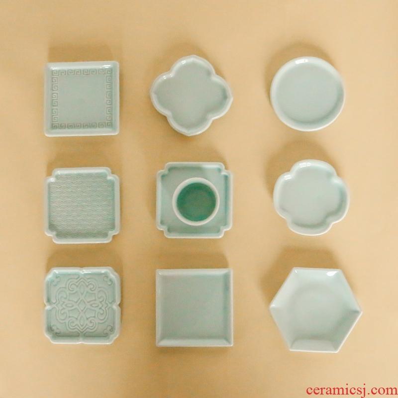 Geometric space ceramic small cup mat insulation cup eat mat creative view window design tea saucer saucer