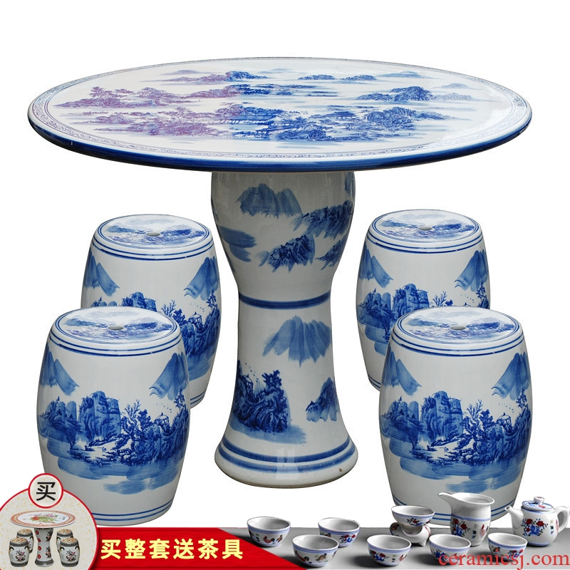 Jingdezhen ceramic who round table suit antique blue and white porcelain decorative balcony is suing courtyard garden chairs and tables