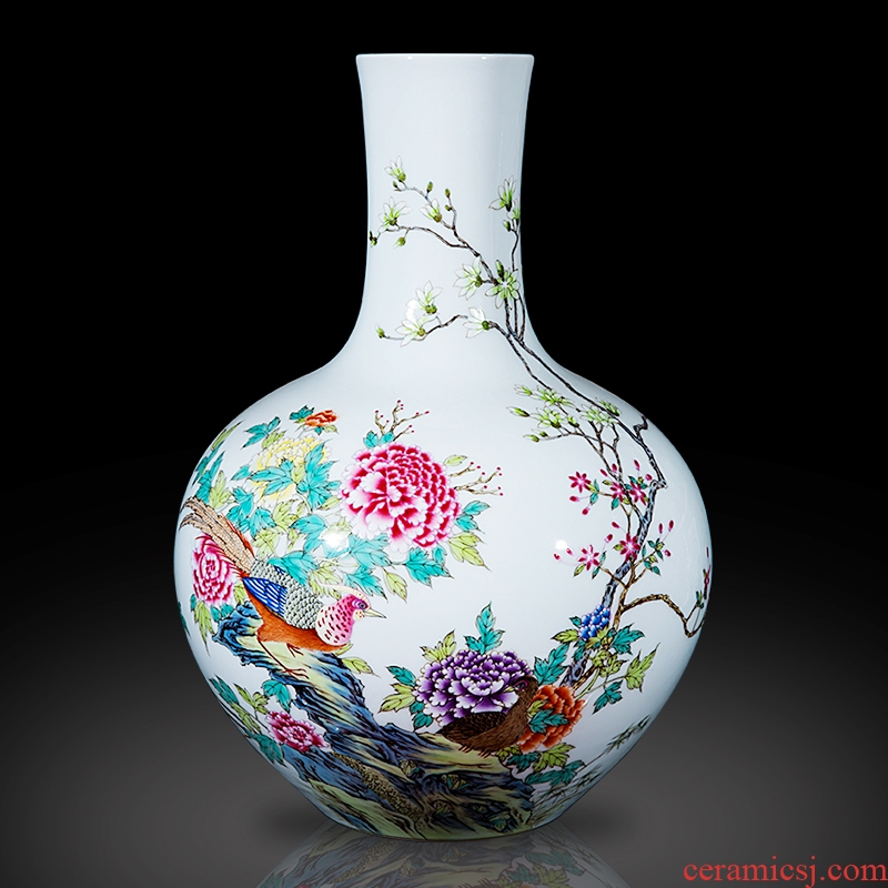 Jingdezhen ceramics furnishing articles imitation the qing qianlong pastel riches and honor peony celestial vases, sitting room of Chinese style household decoration