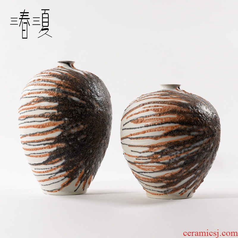 I and contracted manual grey orange hand - made ceramic vase flower implement new Chinese style table example room porch art furnishing articles