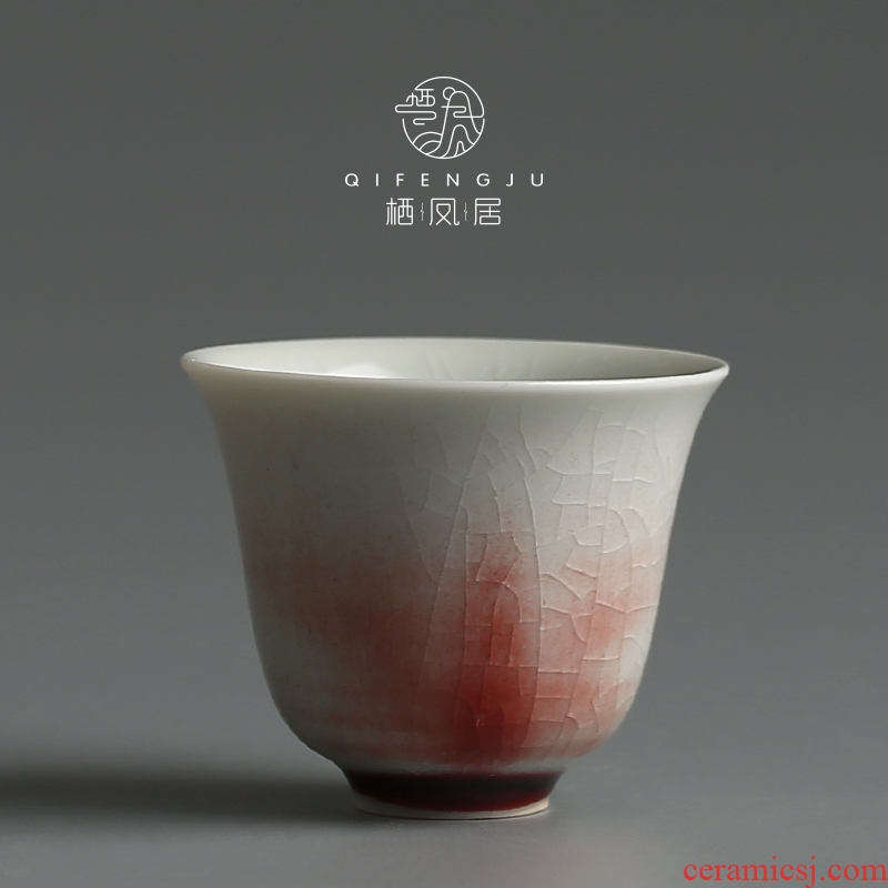 A Live chicken in jingdezhen master individual household ceramic checking sample tea cup thin red cup to ultimately responds kungfu tea set