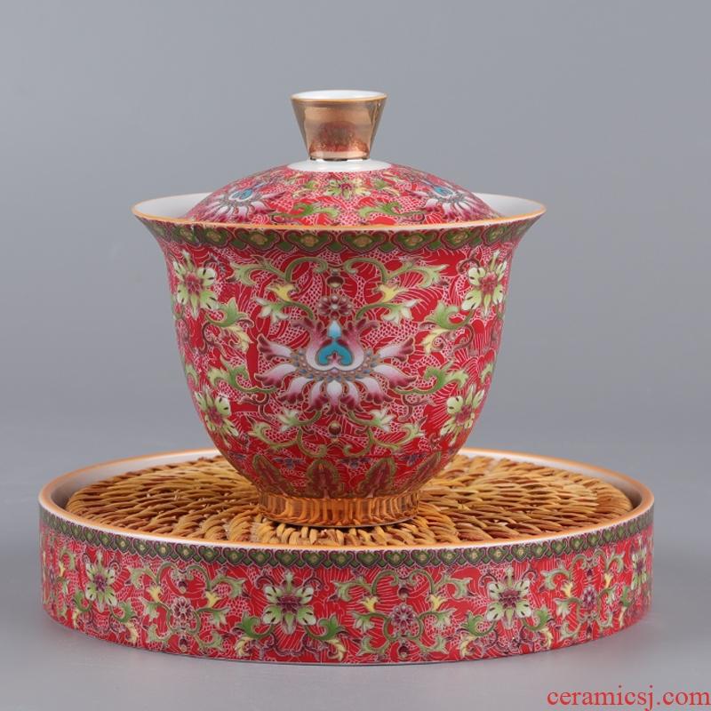 All ceramic enamel made tureen large three teacup saucer only make tea cup pot of white porcelain kung fu tea set