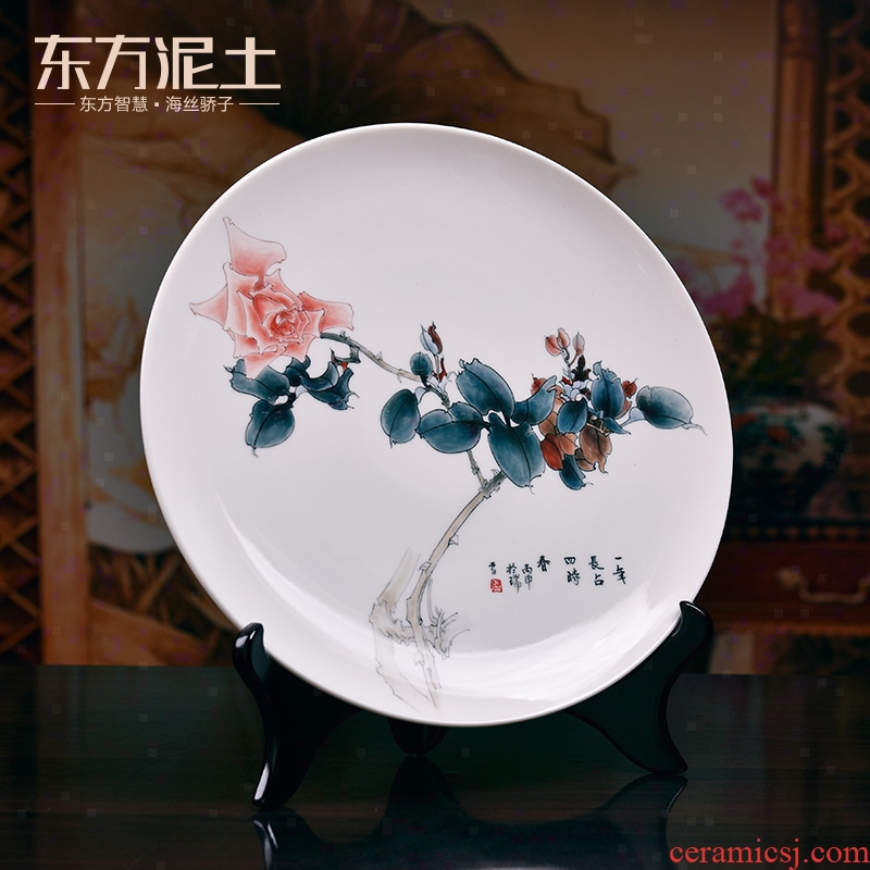 Oriental clay ceramic hand - made art hanging dish Chinese style living room porch decoration disk sat dish made furnishing articles