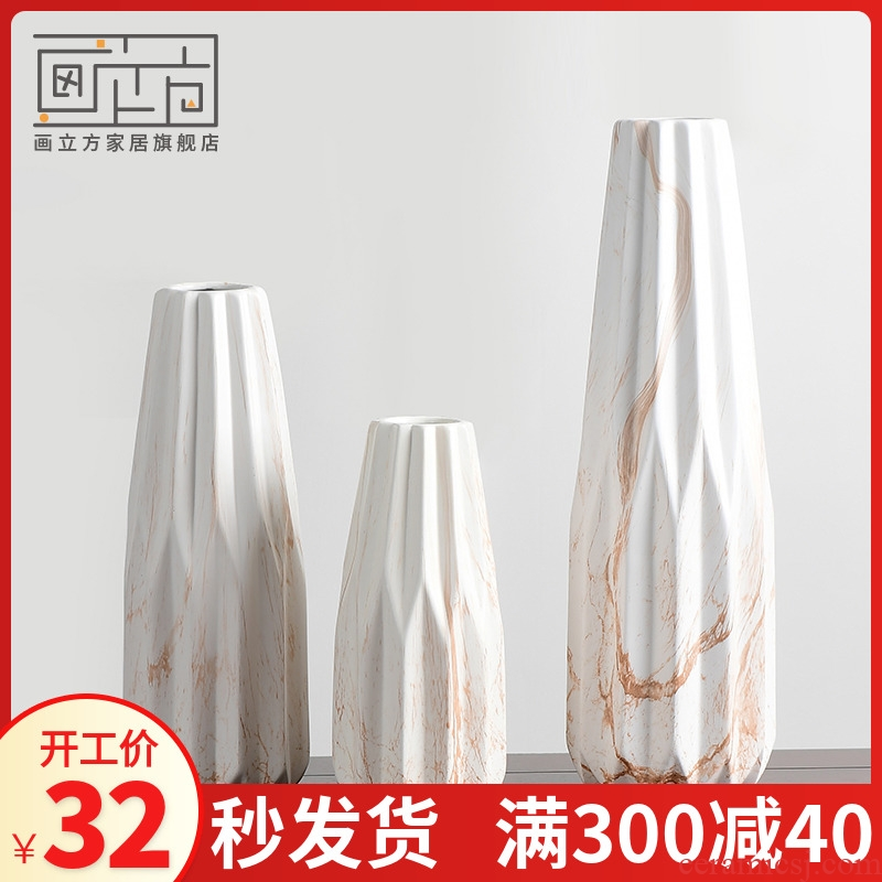 I and contracted white ceramic vase furnishing articles sitting room the bedroom room flower arranging individuality creative decoration home decoration